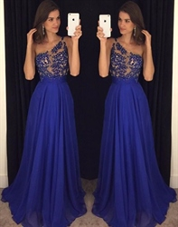 Royal Blue One Shoulder Lace Bodice Embellished Chiffon Prom Dress