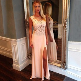 Peach Illusion Neckline Long Chiffon Prom Dress With Side Cutouts