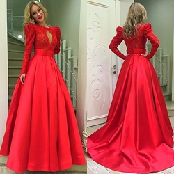 Red Lace Bodice Lace Long Sleeve Prom Dress With Keyhole Detail