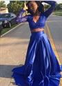 Royal Blue Two Tone Embellished Long Lace Sleeve Prom Dress