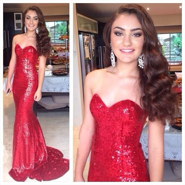 Red Strapless Sweetheart Neckline Sequin Mermaid Prom Dresses