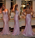 Pink Sheer Lace Embellished Backless Mermaid Long Prom Dress