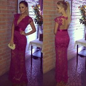Burgundy V Neck Cap Sleeve Backless Lace Overlay Long Prom Dress