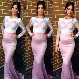 Lilac Mermaid Sheer Lace Bodice Long Sleeve Evening Dress