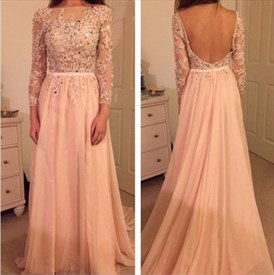 Pink Beaded Backless Lace Bodice Long Sleeve Chiffon Prom Gown