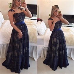 Navy Blue Beaded Embellished Sheer Back Lace Overlay Prom Dress