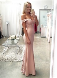 Blush Pink Off The Shoulder Lace Embellished Top Mermaid Prom Dress