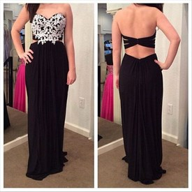 Black Two Tone Strapless Lace Embellished Chiffon Prom Dress