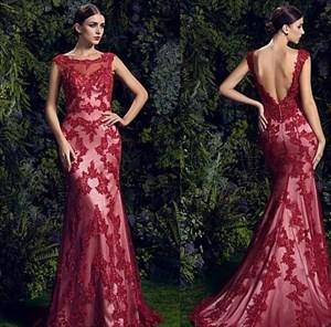Burgundy Backless Lace Embellished Mermaid Long Prom Dress