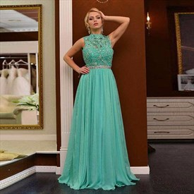 High-Neck Beaded Lace Bodice Sleeveless Chiffon Long Prom Gown