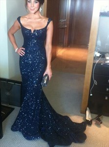 Black Cap Sleeve Long Sequin Embellished Mermaid Evening Dress
