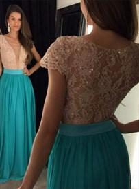 Deep V Neck Lace Bodice Chiffon Skirt Cap Sleeve Bridesmaid Dress