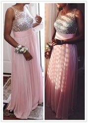 Pink A Line Beaded Bodice Sleeveless Chiffon Long Bridesmaid Dress