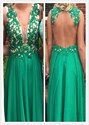 Deep V-Neck Lace Embellished Bodice Open Back Long Bridesmaid Dress