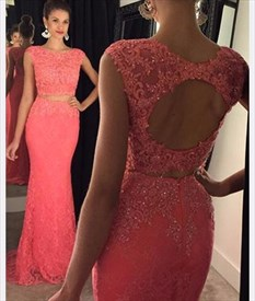Coral Cap Sleeve Beaded Backless Lace Mermaid Long Evening Gown