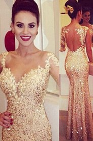 Open Back Mermaid Sweetheart Sequin Embellished Evening Prom Dress