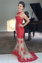 Red High Neck Lace Mermaid Prom Dress With Sheer Illusion Skirt