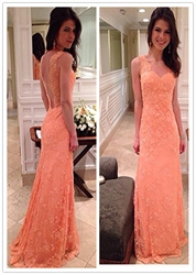 Coral Sweetheart Lace Embellished Open Back Floor Length Prom Dresses