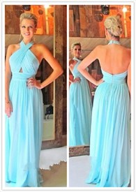 Aqua Blue Halter Neck Cross Ruched Backless Long Bridesmaid Dress