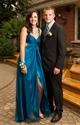 Teal V Neck Embellished Empire Waist Prom Dress With Split Front