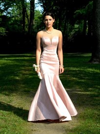 Blush Pink Illusion Neckline Sleeveless Mermaid Long Prom Gown