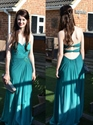 Teal Strapless Crinkle Criss Cross Chiffon Dress With Front Cascade