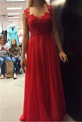 Red Lace Bodice Chiffon Skirt Cap Sleeve Backless Bridesmaid Dress