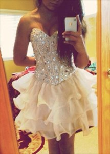 Champagne Strapless Beaded Embellished Bodice Short Party Dress