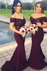 Grape Off The Shoulder Short Sleeve Sequin Top Mermaid Prom Dress