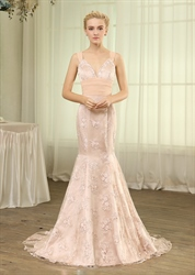 Blush Pink Sweetheart Lace Mermaid Evening Gown With Bow And Strap