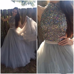 Grey Halter High Neck Beaded Embellished Bodice Long Prom Dress