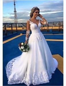 White Lace Embellished Wedding Dress With Sheer Long Sleeves