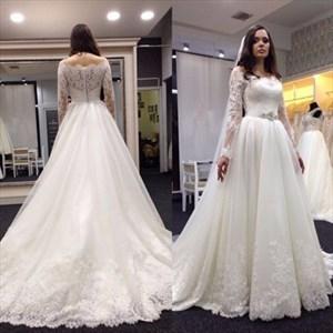 Ivory Lace Off The Shoulder Sheer Long Sleeve Wedding Dress