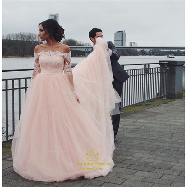 Blush Pink Sheer Lace Long Sleeve Ball Gown Wedding Dresses