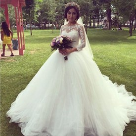 Ivory Illusion Lace Bodice Embellished Ball Gown Wedding Dress