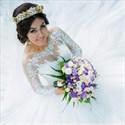 Ivory Illusion Lace Bodice Embellished Ball Gown Wedding Dress