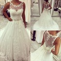 Beaded Lace Applique Sheer Back Wedding Dress With Buttons Down Back