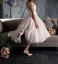 White Sheer Lace Top Short Wedding Dress With Cap Sleeves And Flower