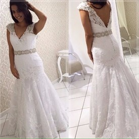 White V Neck Cap Sleeve Beaded Backless Lace Mermaid Wedding Dresses