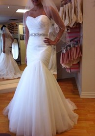 White Sleeveless Beaded Strapless Sweetheart Mermaid Wedding Dress