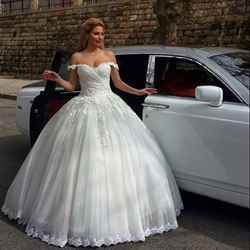 Ivory Off The Shoulder Lace Embellished Bodice Ball Gown Wedding Dress