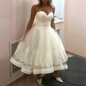 Tea Length Strapless Sweetheart Applqiue Ball Gown Wedding Dresses