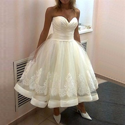 Tea Length Strapless Sweetheart Applqiue Ball Gown Wedding Dresses