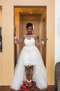 Sheer Long Sleeves Lace Short Wedding Dress With Detachable Train