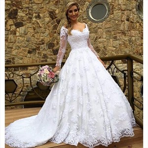 White V Neck Sheer Long Sleeve Lace Ball Gown Wedding Dress