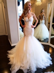 Vintage Backless Ivory Mermaid Lace Wedding Dress With Straps