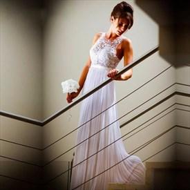 White Lace Bodice Chiffon Skirt A Line Floor-Length Wedding Dress