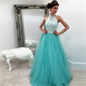 Lace Bodice Halter Top Tulle Bottom Ball Gown Wedding Dress