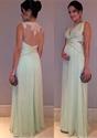 Mint Green Illusion Neckline Sheer Back Embellished Chiffon Prom Dress