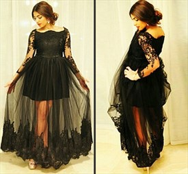 Off The Shoulder Embellished Lace Sleeves Dress With Sheer Overlay